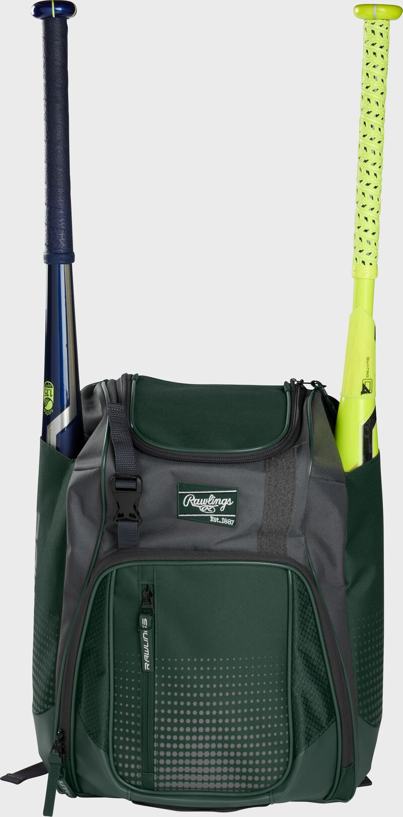 Front of a dark green Rawlings Franchise baseball backpack with two bats in the side sleeves - SKU: FRANBP-DG