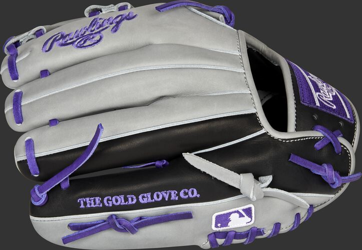 Gray/black back of a Colorado Rockies Heart of the Hide infield glove with the MLB logo on the pinky - SKU: RSGPROTT2-20COL