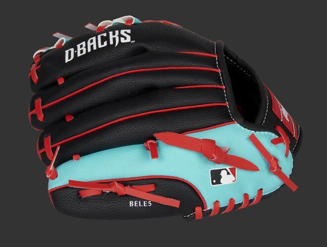 Back of a black/teal Arizona Diamondbacks youth glove with the MLB logo on the pinky - SKU: 22000010111