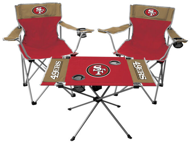 Front of Rawlings Red and Gold NFL San Francisco 49ers 3-Piece Tailgate Kit With Two Kickoff Chairs, An Endzone Table, And A Transport Bag With Team Logo SKU #01041084511