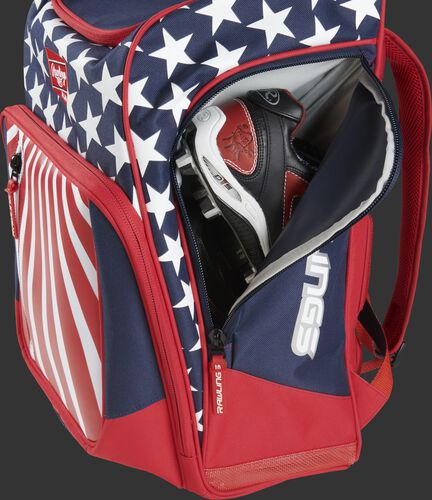 A cleat in the side cleat pocket of a USA Legion baseball backpack - SKU: LEGION-USA