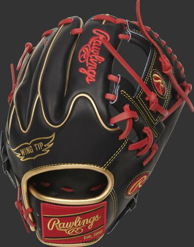 Back of a Heart of the Hide I-web infield glove with a black Wing Tip back and gold binding/welting - SKU: PRO205W-2BG