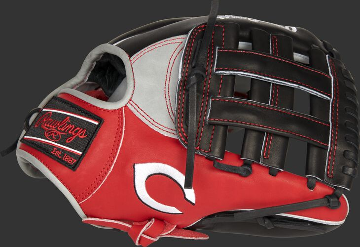Thumb of a 2021 Cincinnati Reds Heart of the Hide glove with the Reds logo on the thumb - SKU: RSGPRONP4-6CIN