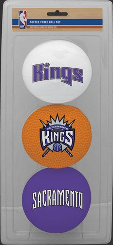 Rawlings White, Brown, and Purple NBA Sacramento Kings Three-Point Softee Basketball Set With Team Logo SKU #03524222114