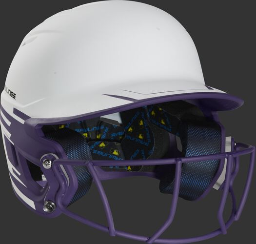Front right of a Rawlings Mach fastpitch batting helmet with a purple mask - SKU: MSB13S-W/PU
