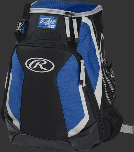 Left side of a black/royal R500 Players team backpack with white trim