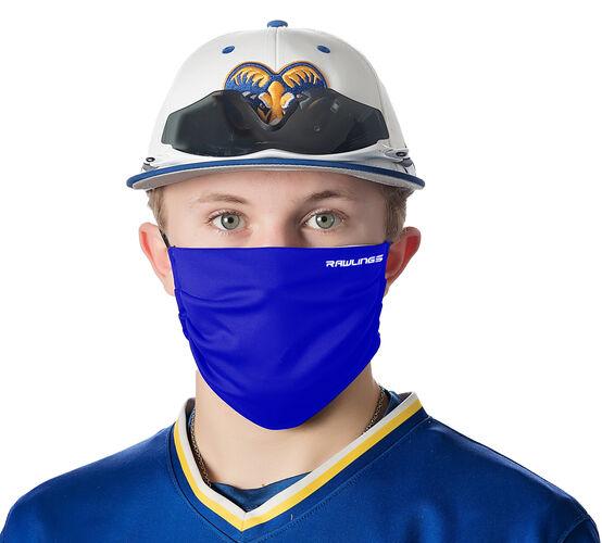 A player wearing a blue Rawlings performance wear sports mask - SKU: RMSK-BLU