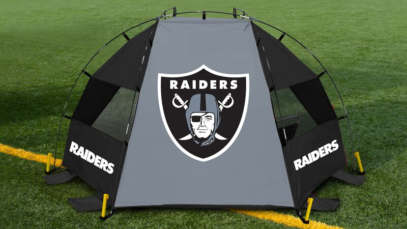 Back of a Las Vegas Raiders sun shelter on a football field with a Raiders logo in the middle - SKU: 00961072111