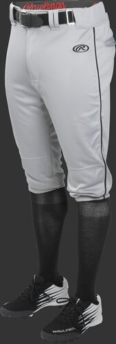 Front of Rawlings Blue Gray/Black Youth Launch Piped Knicker Baseball Pant - SKU #YLNCHKPP-BG/B-88