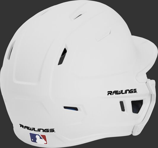 Back right of a matte white MACHEXTL Rawlings senior size batting helmet
