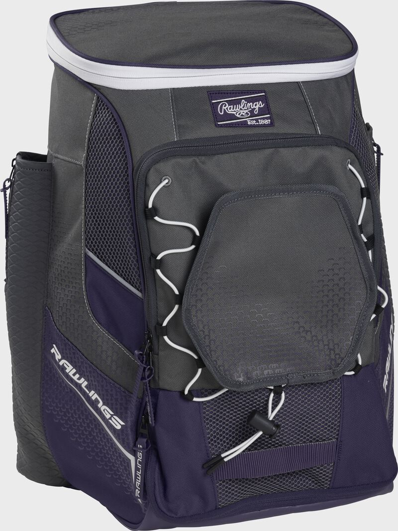 Front left angle of a purple Rawlings Impulse bag with gray accents - SKU: IMPLSE-PU