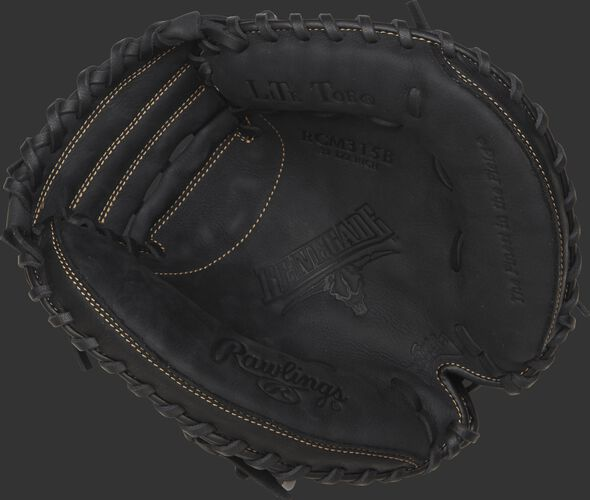 RCM315B Rawlings recreational youth catcher's mitt with a black palm, black laces and Sure Catch design
