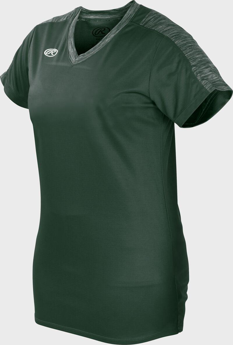 Front of Rawlings Dark Green Girl's Short Sleeve Launch Jersey - SKU #WLNCHJG-B-88