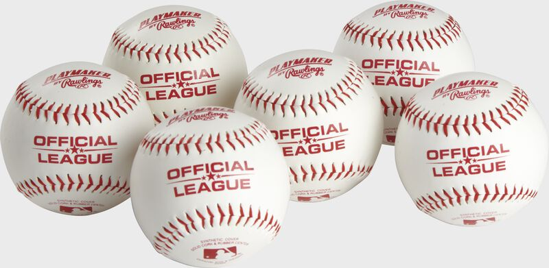 6 Official League Playmaker baseballs with red stamping and stitching - SKU: PMBBPK6