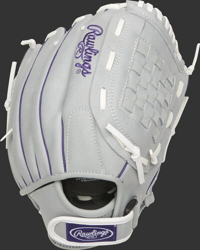 SCSB12PU 12-inch Sure Catch youth softball glove with a grey back and Velcro wrist strap