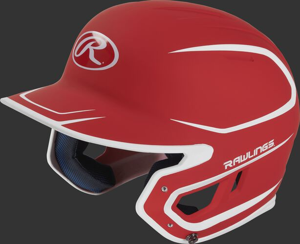 Left angle view of a Rawlings MACH Junior helmet with a two-tone matte scarlet/white shell