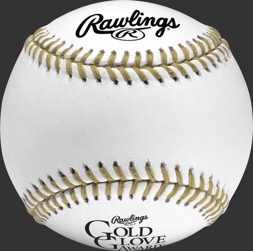 A RGGBB Rawlings Gold Glove baseball with black logos and gold stitching