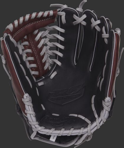 R9205-4BSG Rawlings R9 Series baseball glove with a black palm and grey laces