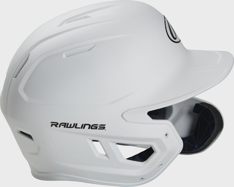 Right side of a MACHEXTR junior Rawlings batting helmet with a one-tone matte white shell