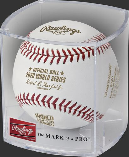 A Los Angeles Dodgers 2020 World Series champions baseball in a clear display cube - SKU: EA-WSBB20CHMP-R