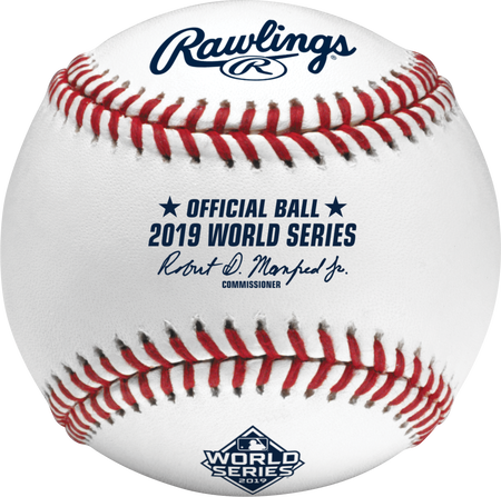 WSBB19 MLB 2019 World Series baseball with the official logo and commissioner's signature