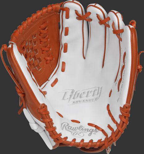 RLA125-18WO Rawlings 12.5-inch outfield/pitcher's softball glove with a white palm and orange laces
