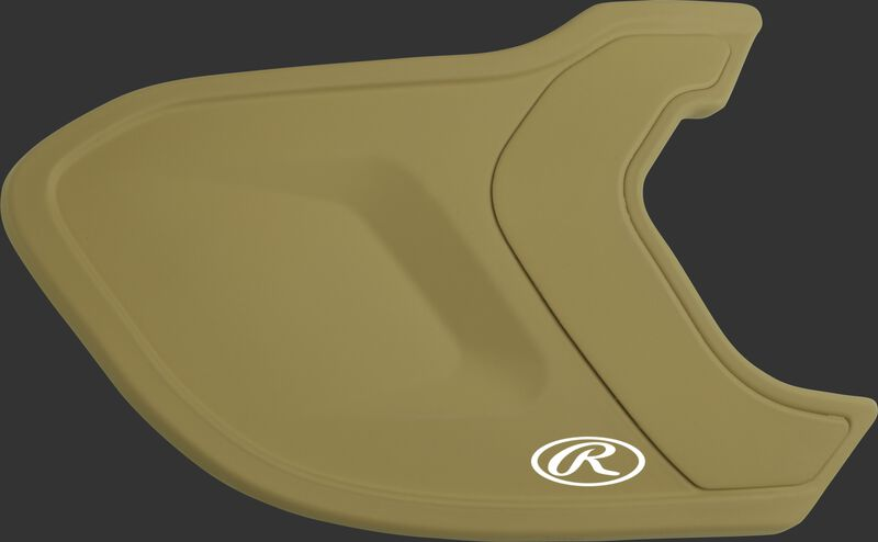 A matte Vegas gold MEXTR Mach EXT batting helmet extension for right-handed batters