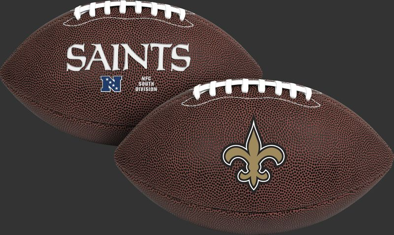 NFL New Orleans Saints Air-It-Out youth football with team name and logo SKU #08041077121