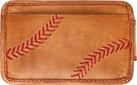 A tan MW494-204 Baseball Stitch money clip with red stitching on the outside credit card slot