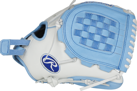Thumb of a white RLA120-3CB Liberty Advanced Color Series 12-Inch infield/pitcher's glove with a columbia blue Basket web