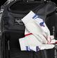 Two batting gloves hanging on the front Velcro strap of a Franchise baseball backpack - SKU: FRANBP-B image number null