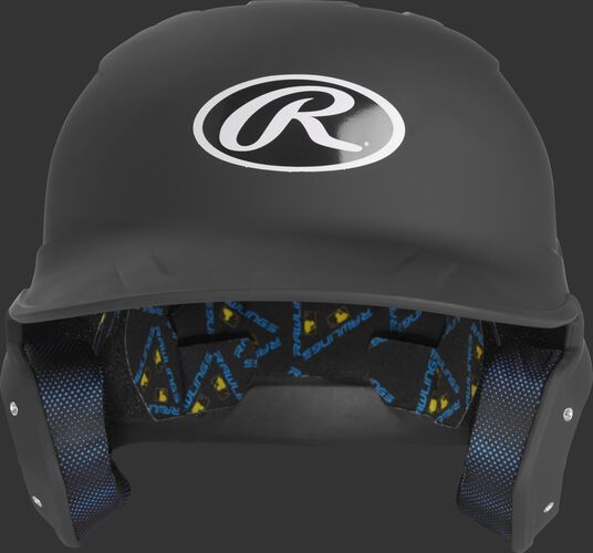 MCH07A Mach batting helmet with a matte black shell and Oval R logo on the front