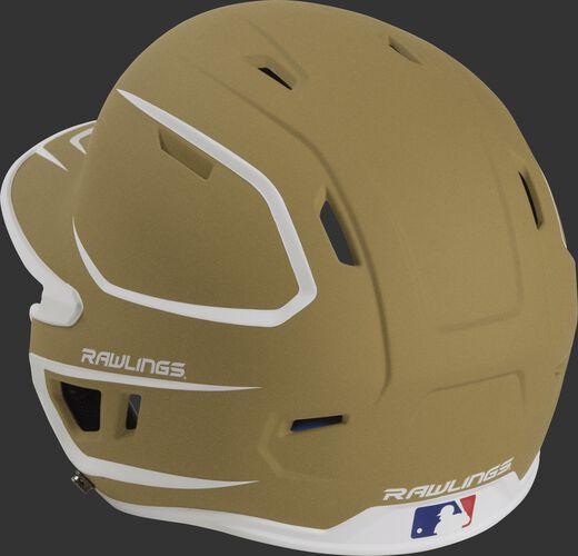 Back left view of a matte MACH series batting helmet with air vents