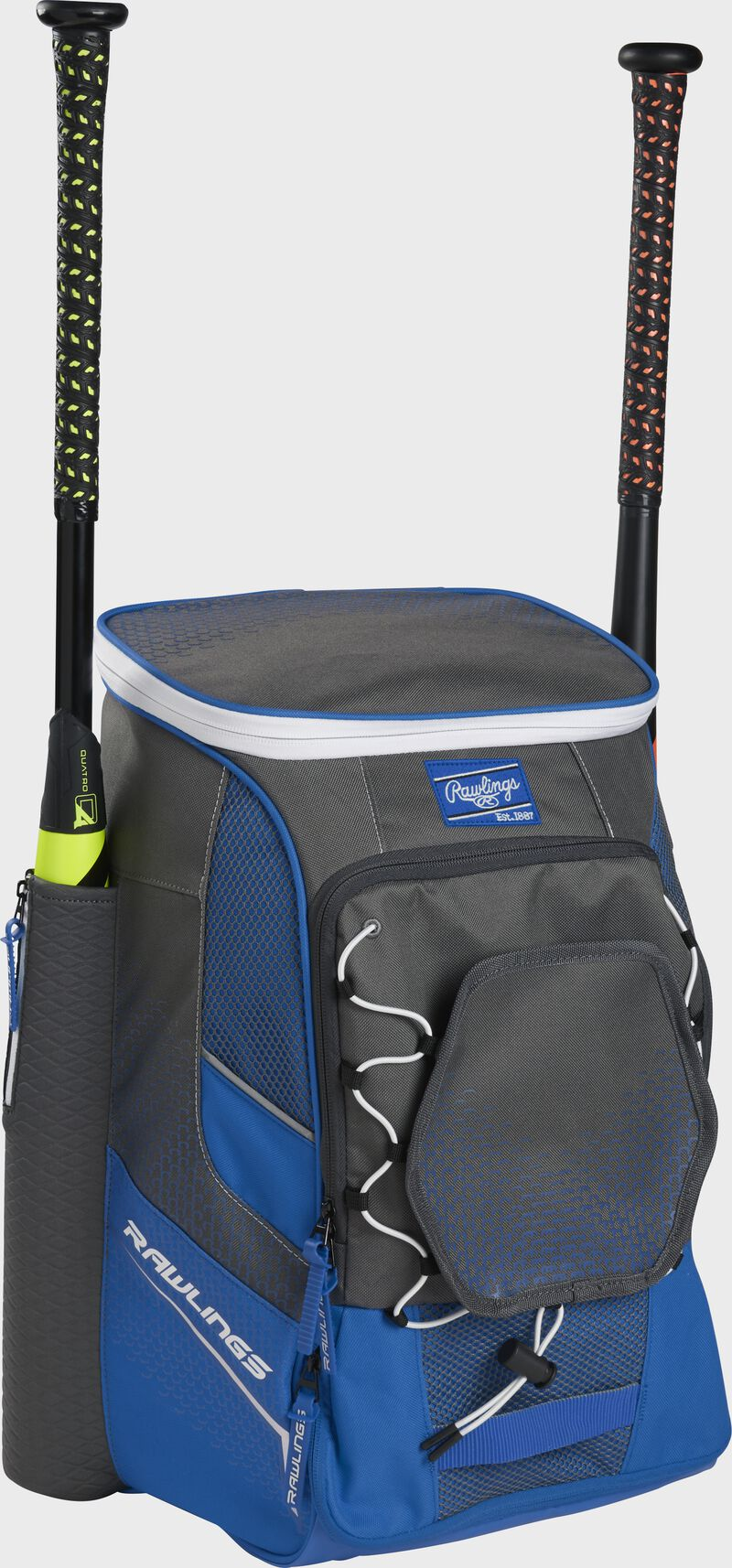 Front left angle of a royal Rawlings Impulse baseball gear backpack with two bats - SKU: IMPLSE-R