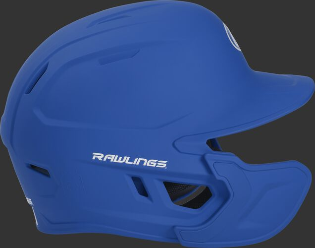 Right side of a MACHEXTL Rawlings MACH helmet with EXT extension piece for left hand batters