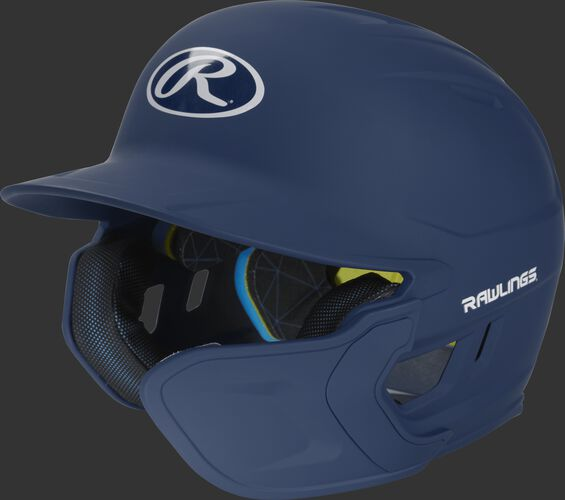 Left angle view of a matte navy MACHEXTR Mach Senior helmet with Mach EXT right hand batter face guard extension
