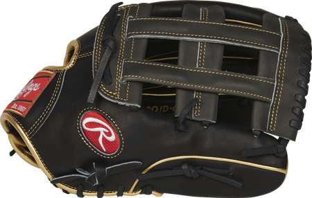 Thumb of a black PROJD-6BGP 13-inch Heart of the Hide outfield glove with a grey H-web
