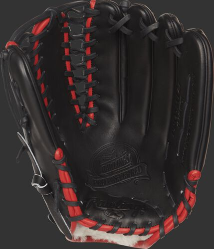 PROSMT27 Rawlings Mike Trout baseball glove with a black palm and black laces