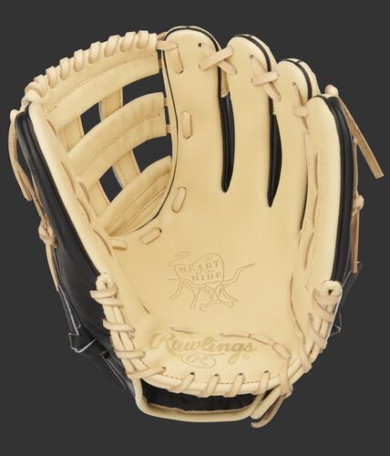 Camel palm of a Rawlings Heart of the Hide infield glove with a camel web and laces - SKU: PRO206-6CBSS