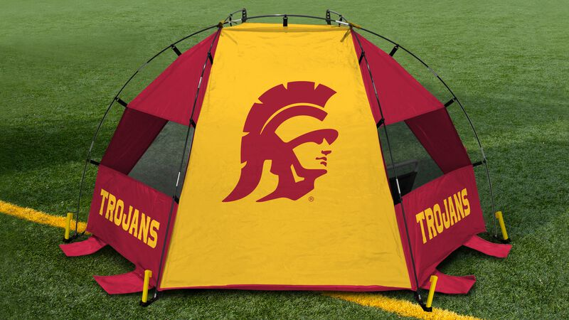 Back of a USC Trojans sideline sun shelter with a Trojans logo in the middle set up on a field - SKU: 00973100111