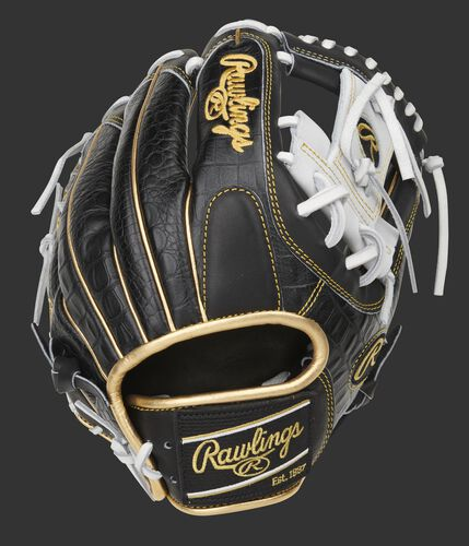 Black croc embossed leather back of a Rawlings exclusive Heart of the Hide infield glove - SKU: PRO204-2BCW