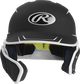 Front of a matte black/white MACHEXTR junior size Mach batting helmet with face guard extension for left hand batters image number null