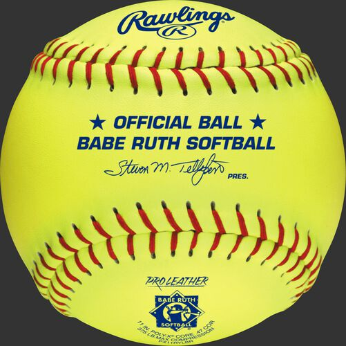 A yellow PX11RYLBR Babe Ruth official 11-inch softball with red stitching