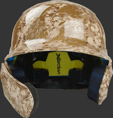Front of a MACHEXTL-DCMO Rawlings Mach EXT batting helmet with a desert camo hyro dipped design