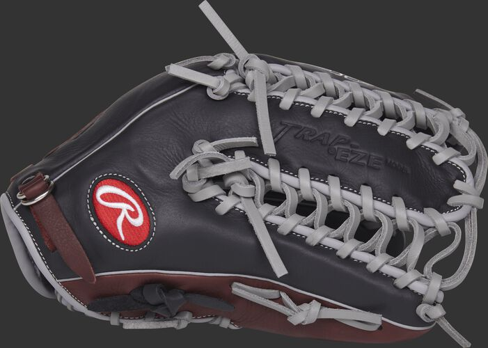 Thumb view of a R96019BSGFS R9 Series 12.75-inch outfield glove with a black Trap-Eze web