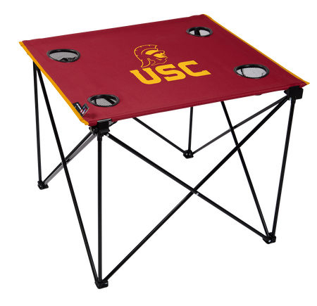 A red NCAA USC Trojans deluxe tailgate table with four cup holders and team logo printed in the middle