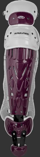 Maroon/white LVELI Rawlings Velo intermediate leg guard