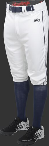 Front of Rawlings White/Navy Youth Launch Piped Knicker Baseball Pant - SKU #YLNCHKPP-BG/B-88