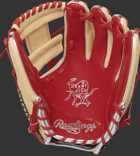 Scarlet palm of a Heart of the Hide R2G 11.5-inch glove with scarlet laces and gold stamping - SKU: PROR314-2SC