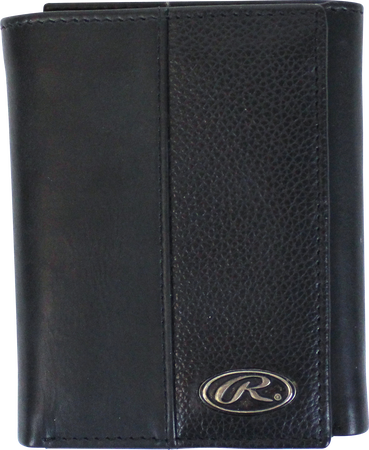 A black RW80003-001 Bases loaded tri-fold wallet folded closed with a silver Oval R emblem in the bottom right corner